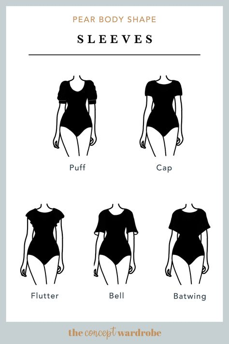 the concept wardrobe A selection of great sleeve styles for the pear body shape Short sleeves should be wide and embellished whereas long sleeves should be tight-fitted and tapered Pear Shaped Dresses, Pear Shaped Outfits, Pear Shape Fashion, Triangle Body Shape, Pear Shaped Women, Fashion Dictionary, Fashion Vocabulary, Zooey Deschanel, Style Guides