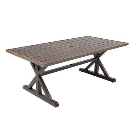 Farmhouse Patio Dining Table, Outdoor Trestle Table