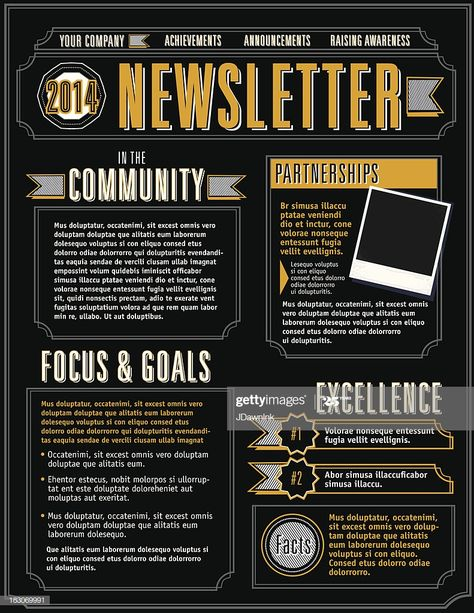 Vector illustration of a Company Newsletter design template. Includes...
