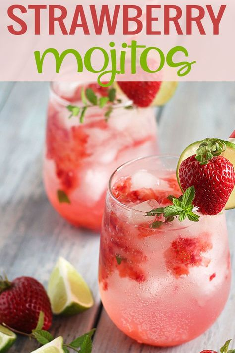 Strawberry Mojitos prepared with fresh strawberries, mint leaves, lime juice, club soda, rum and simple syrup.  #mojito #cocktail