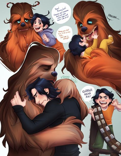 """"""" long wanted to draw these guys 🙌🏻✨ I'm sure that as a child, Ben often nursed Chewie and I waited for their interactions in the film until the last 😭😔"""" Star Wars Clones, Star Wars Clone Wars, Star Wars Kylo Ren, Star Wars Comics, Star Wars Humor, Star Wars Fan Art, Chewbacca, Dragon Rey, Elizabeth Ii"""