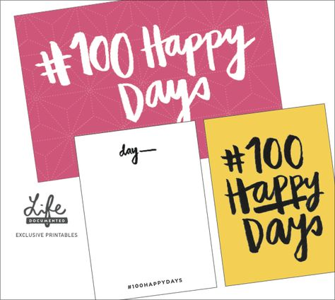 Free The 100 Happy Days Project Journal Cards from Life Documented Manila