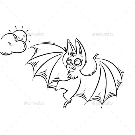 Cartoon Bat Screeching To The Sun