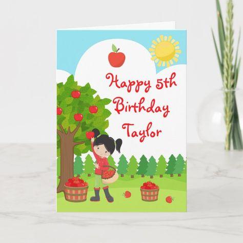Fall Apple Orchard Birthday Black Hair Girl Card | Zazzle.com