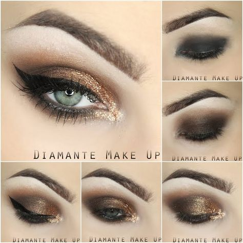 This pictorial shows how to create this stunning gold cat eye makeup using neutral and gold eyeshadow shades and black eyeliner. See the products needed to ...