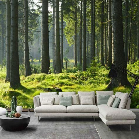 3d Tree Green Forest Mural Living Room Bedroom Tv Background Wallpaper Homedecorlivin Wallpaper Living Room Tree Wallpaper Living Room Living Room Decor Cozy