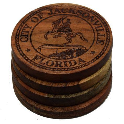 Jacksonville Coasters Set Of 4 Jacksonville City Seal Of Jacksonville Jacksonville Florida Coast New Homeowner Gift Coasters Jacksonville Florida