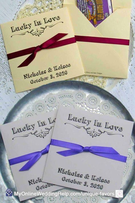 Lottery Ticket Scratch Off Favors are a favorite with guests. Look for more information and where to buy these envelopes in the non-traditional favor ideas post on MyOnlineWeddingHelp.com #WeddingIdeas #WeddingFavors #GuestGifts