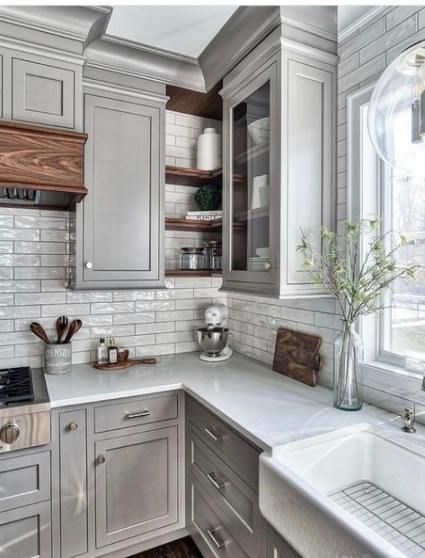 Farmhouse Livingroom Grey Color Palettes 50 New Ideas In 2020 Grey Kitchen Designs Kitchen Cabinet Design Kitchen Interior