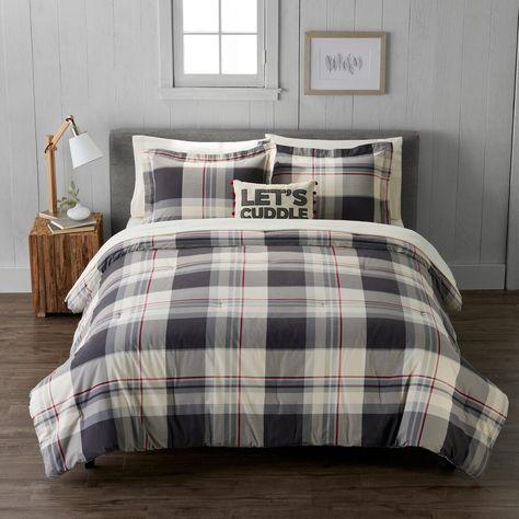 Cuddl Duds Heavyweight Plaid Flannel Comforter Set Comforter