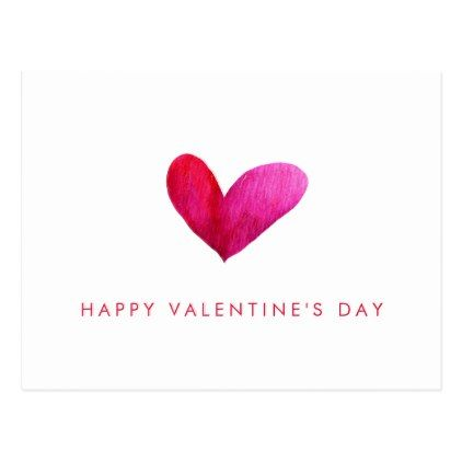 Happy Valentine S Day Watercolor Heart Holiday Postcard Zazzle Com Valentines Watercolor Watercolor Heart Valentine Card Template