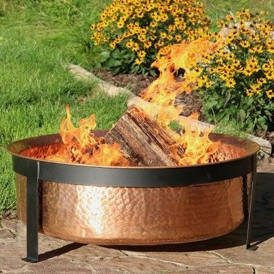 Hammered Copper Wood Burning Fire Pit Bowl Round Sunnydaze