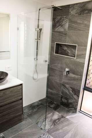 Fixed Shower Screen Feature Wall Charcoal Bathroom Black Waterproof Bathroom Wall Panels Shower Screen Bathroom Wall Panels