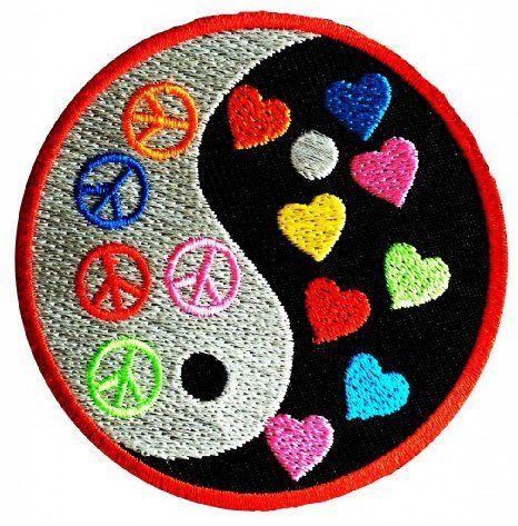 Aufnäher // Bügelbild bunt Ø7,5 cm Yin Yang Peace Frieden