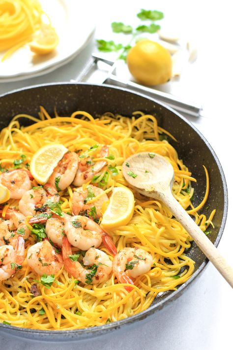 Garlic Butter Shrimp with Yellow Squash Noodles - Dish by Dish