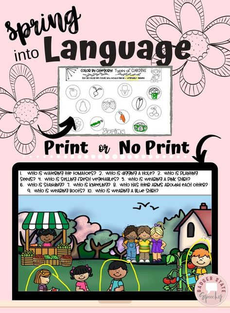 Spring Language Learning Activities Speech Therapy