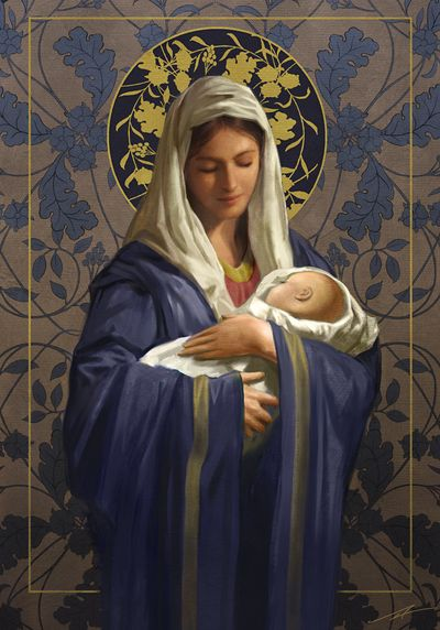 Leading Illustration & Publishing Agency based in London, New York & Marbella. Mother Mary Images, Images Of Mary, Religious Pictures, Jesus Pictures, Blessed Mother Mary, Blessed Virgin Mary, Virgin Mary Art, Catholic Art, Religious Art