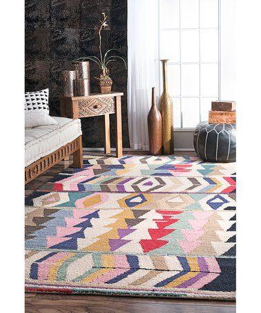 Love This Cream Blue Geo Ofelia Wool Rug On Zulily Zulilyfinds Purple Area Rugs Geometric Tribal Rug Geometric Pattern Rug