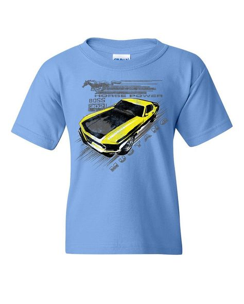 Ford Mustang Yellow Boss 302 Youth T-Shirt Vintage American Muscle Car Kids Tee