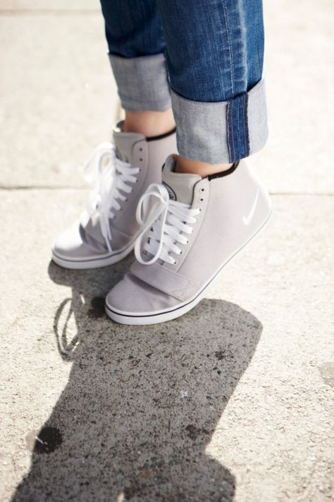 Simple hi tops & cuffed denim make any outfit tomboy cute. #style #nike
