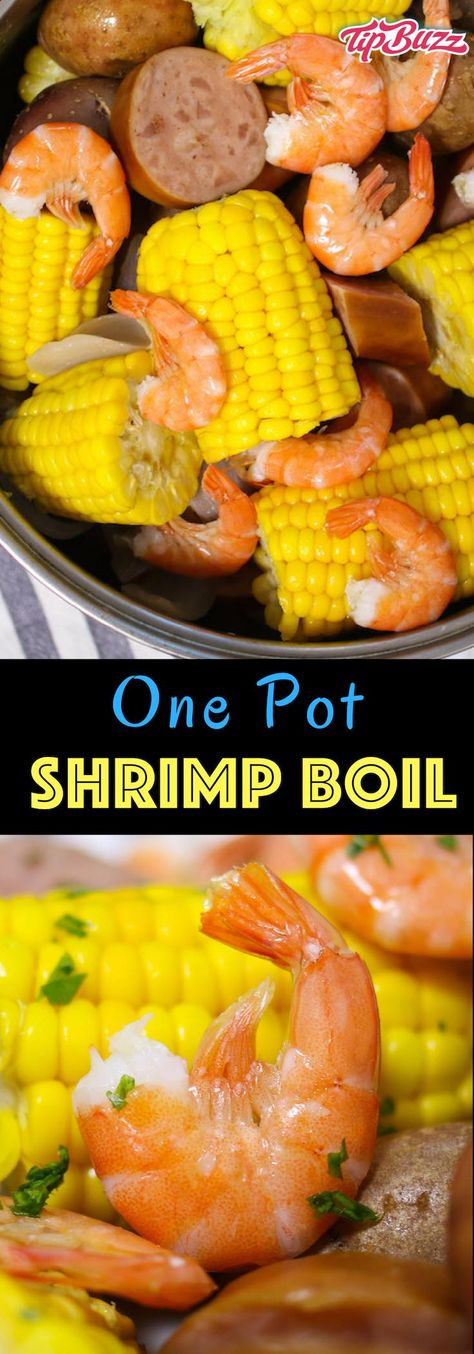 Shrimp Boil is an easy and flavorful southern feast to feed a crowd! Shrimp is boiled with potatoes, corn, smoked sausage, onion and seasonings