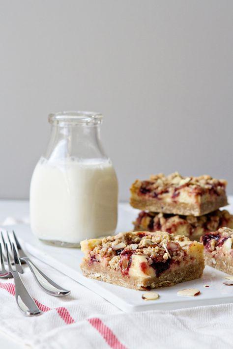 Cherry Cheesecake Crumb Bars from @bakingaddiction