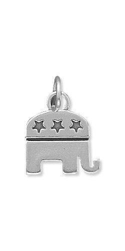 Boxed Vintage Pewter Elephant Pendant Necklace Republican Party