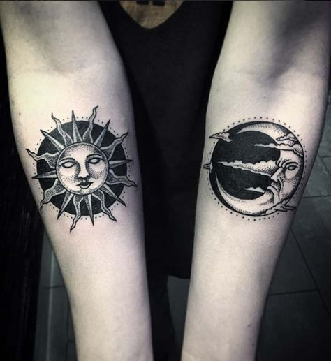Sun and moon forearm tattoo