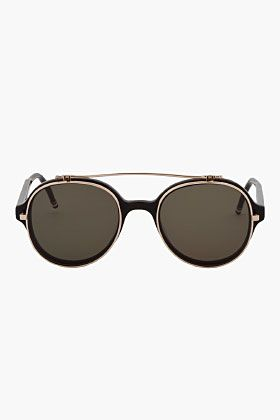 9bbc0228f2a Thom Browne Black Round Aviator 12k Gold Flip Sunglasses for men ...