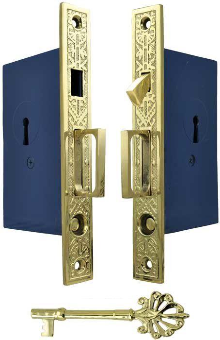 Recreated Double Pocket Door Lock Set Zlw 51fd Vintage