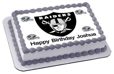 Oakland Raiders Edible Birthday Cake Topper OR Cupcake Topper, Decor #edibleprintsoncake