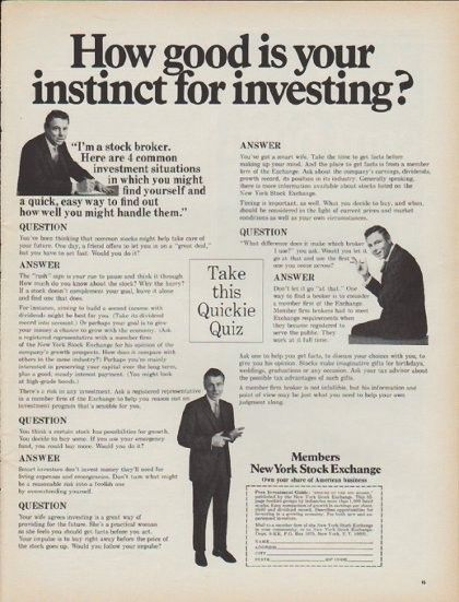 1968 New York Stock Exchange Vintage Ad How Good Is Your Instinct