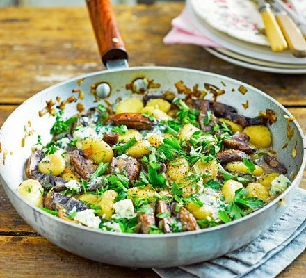 Gnocchi With Mushrooms Blue Cheese Recipe In 2020 Bbc Good Food Recipes Blue Cheese Recipes Quick Vegetarian Meals