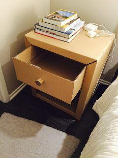 Diy Cardboard Bedside Table Night Stand Diy Cardboard Furniture Diy Nightstand Diy Furniture Bedroom