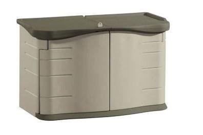 Rubbermaid Fg375301olvss Split Lid Sandstone 36 X 28 X 55 Storage Shed Shed Storage Patio Storage Utility Storage