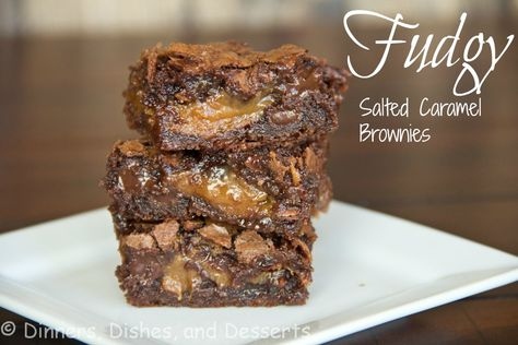 Fudgy Salted Caramel Brownies | Dinners, Dishes, and Desserts