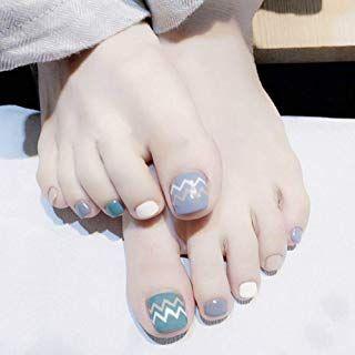 24pcs False Toenails Tips Artificial Toenails Short 12 Different Sizes Candy Style Blue Purple Acrylic Toenai Summer Toe Nails Toenail Designs Summer Toe Nails