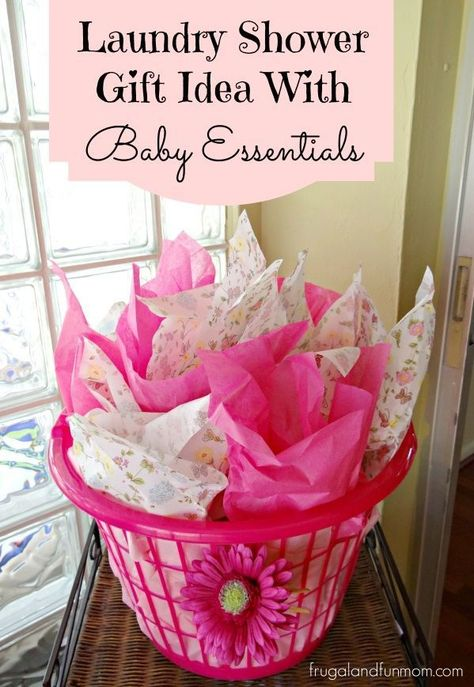 Laundry Shower Gift Idea With Baby Essentials! It is a neat gift with what is INSIDE! (There is a boy version as well) #DIY #Ad