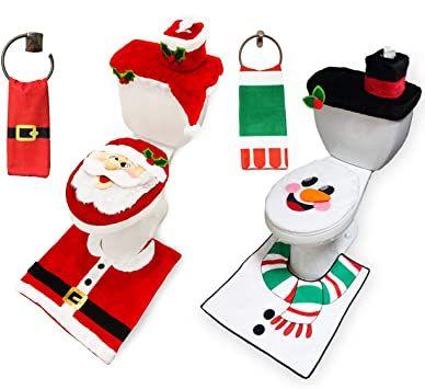 10 Pieces Christmas Santa And Snowman Themes Bathroom Decoration Set W Toilet Seat Cover Ru In 2021 Christmas Bathroom Sets Toilet Seat Cover Christmas Bathroom Decor