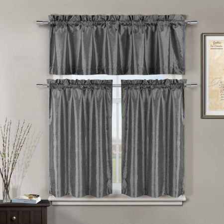 Home Expressions Marin 3 Pc Rod Pocket Kitchen Curtain Set