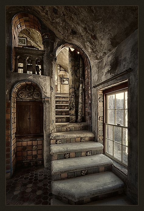 Fonthill Castle Stairwell poster by Robert Fawcett. Our posters are produced on acid-free papers using archival inks to guarantee that they last a lifetime without fading or loss of color. All posters include a Abandoned Mansions, Abandoned Buildings, Abandoned Places, Abandoned Library, Abandoned Castles, Old Buildings, Slytherin Aesthetic, Beautiful Architecture, Architecture Old