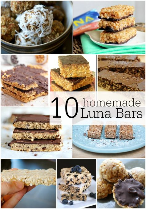 10 Homemade Luna Bar Recipes…Yum!  Cannot wait to try these out!