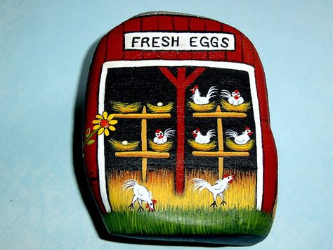 Chicken Coop #12 Americana collectible numbered series fine art painted rock by RockArtiste on Etsy, $55.00