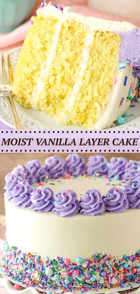 cake decorating 113012271888836213 - This Moist Vanilla Layer Cake is just what it sounds like – a moist, soft vanilla cake! It's delicious and easy to make too! Source by lifelovesugar Dessert Party, Fluffy Vanilla Cake Recipe, Easy Vanilla Birthday Cake Recipe, Easy Birthday Cake Recipes, Moist Vanilla Cake, Vanilla Buttercream, Vanilla Cupcakes, Food Cakes, Cake Toppers