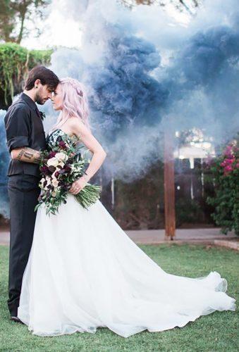 Creative Wedding Entourage Photo Ideas ★ wedding entourage photo ideas couple in grey smoke denisekaris