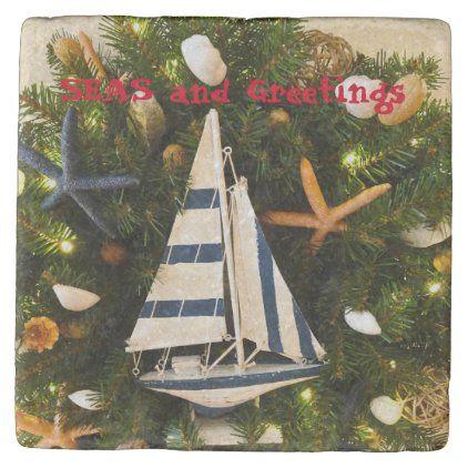 Coaster Christmas 2020 Tropical Coastal 'SEAS and Greetings' Christmas Stone Coaster