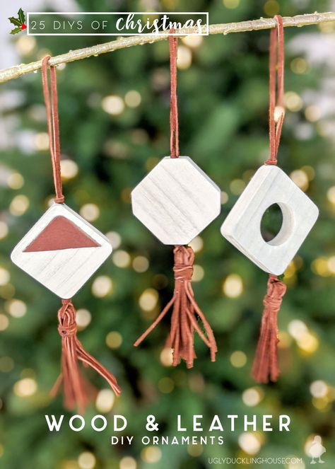 These boho-inspired ornaments can be made easily with scrap wood and a few pieces of leather! Create some neutral ornaments to give your tree a boho look with leather tassels and white stain. #boho #bohemian #leather #woodworking #tassel #whitewash #ornaments #christmastree