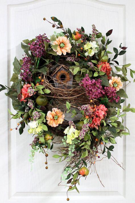 Front Door Wreath Spring Wreath Country Wreath photo only item not avail. Spring Front Door Wreaths, Holiday Wreaths, Spring Wreaths, Easter Wreaths, Country Wreaths, Country Decor, Country Style, Deco Nature, Deco Originale