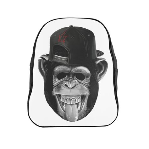 Cheeky Monkey laugh Funny School Backpack