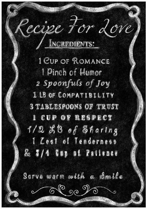 Recipe for Love Quote Wall Art ♥ Each table is going to be